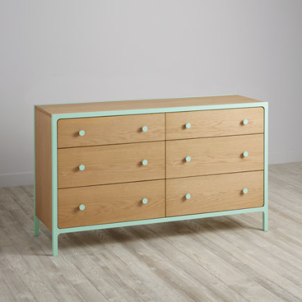 Larkin 6-Drawer Dresser (Mint) - Mint Larkin 6-Drawer Dresser