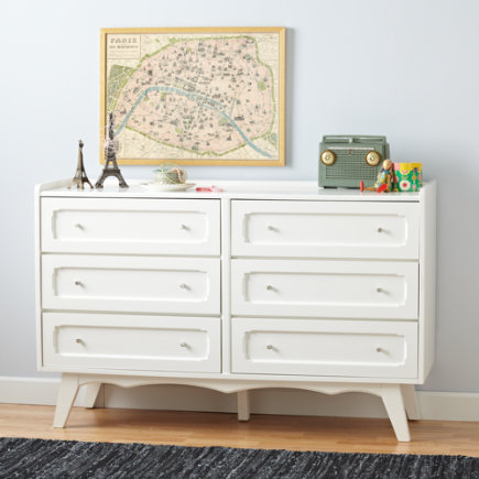 Kids Dressers: White Monarch Scalloped Dresser - White Monarch 6 Drawer Dresser