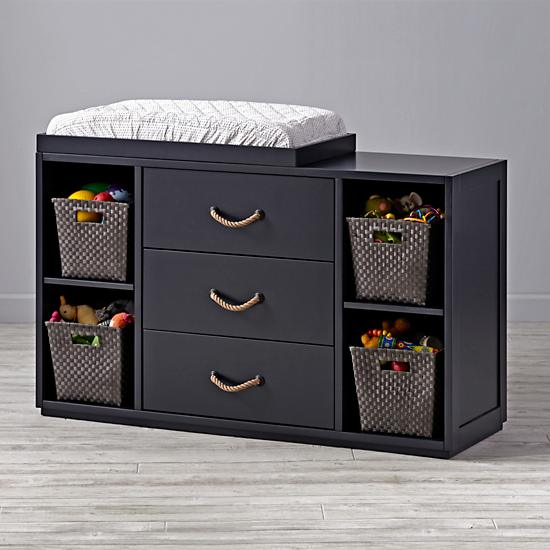 Topside Midnight Blue Wide Changing Table The Land Of Nod
