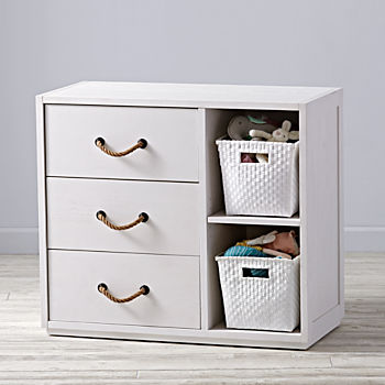 Topside White Glaze 3-Drawer Changing Table