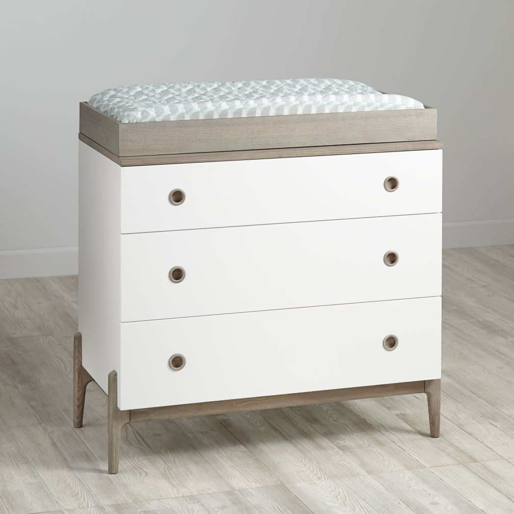 Wrightwood Grey Stain and White 3-Drawer Changing Table