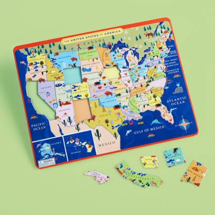 Kids Educational Puzzles: Kids United States Map Puzzle - Mountains to Prairies USA Tray Puzzle