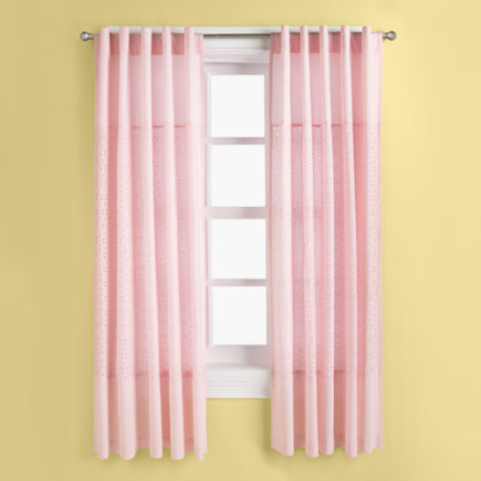 Kids Curtains: Kids Light Pink Curtain Panels - 63 Pink Eyelet Panel (sold individually)