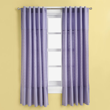 Kids Curtains: Kids Purple Lavender Curtain Panels - 63 Lavender Eyelet Panel (sold individually)