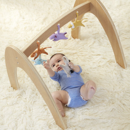Wee Workout Baby Gym (Natural) - Set Natural Activity Gym With 5 Animal Rattles