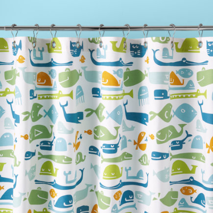 Kids Bathroom Accessories: Kids Fish Pattern Shower Curtain - Shower Curtain