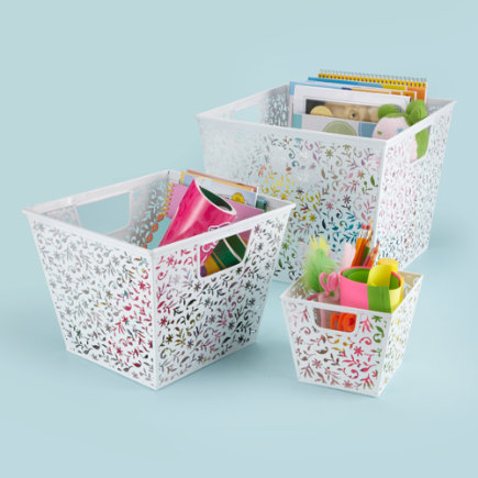 Kids Storage: Kids White Floral Cutout Storage Baskets - Small Floral Metal Bin