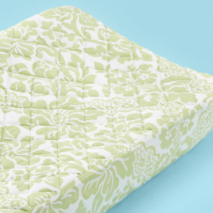 Changing Pad Cover: Baby Green Floral Changing Pad Cover - Green Floral Changing Pad Cover