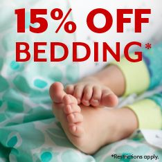 15% off bedding. Restrictions apply.