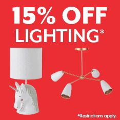 15% off lighting. Restrictions apply.