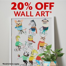 20% off wall art sale. Restrictions apply.