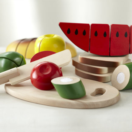 Kids Wooden Sliced Play Food Set - Wooden Cutting Food Play Set