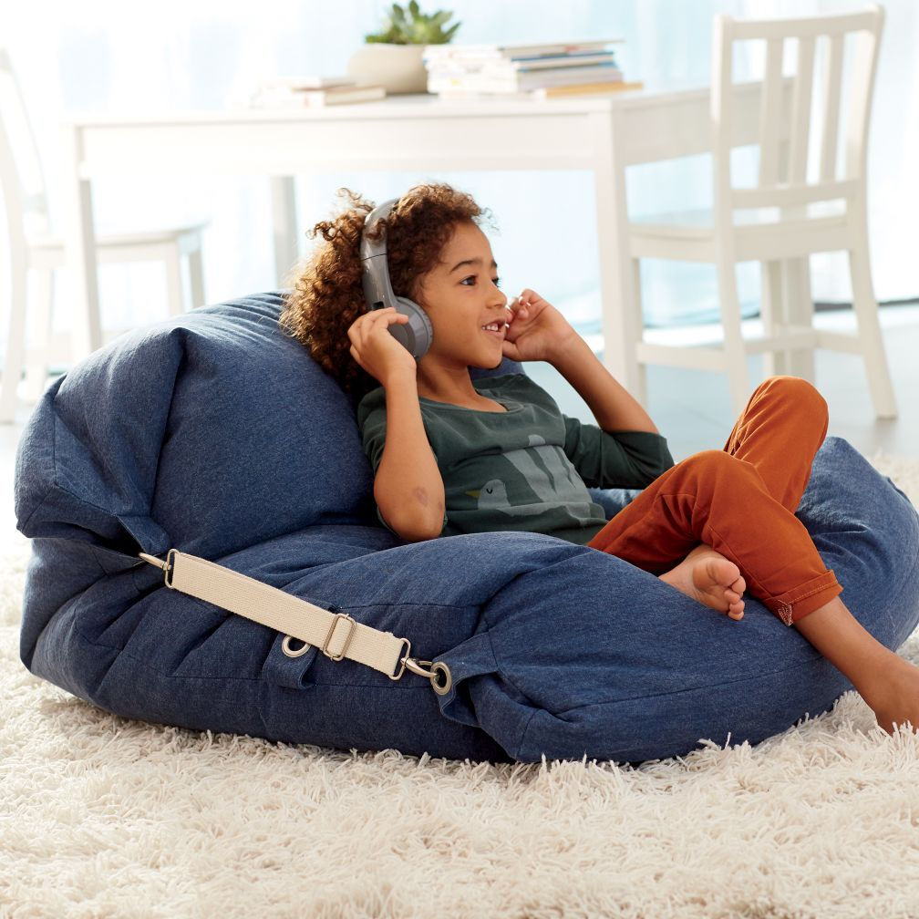 Kids Blue Bean Bag Bed Chair The Land Of Nod