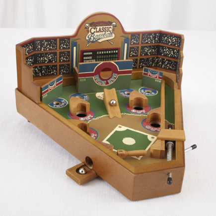 Kids Classic Toys: Wooden Baseball Pinball Game - Mini Baseball Pinball