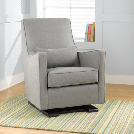 Nursery Gliders: Heather Grey Upholstered Monte Luca Glider and Ottoman - Heather Grey Luca Glider