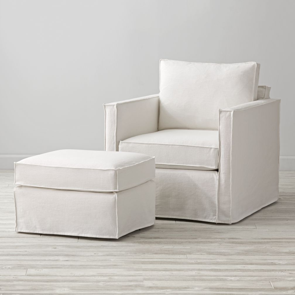 Slipcovered Glider & Ottoman (Weathered Linen Bone)