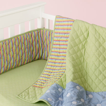 Baby Crib Bedding: Baby Crib Blue & Green Dots & Stripes Crib Bedding - Blue/Green Patchwork Crib Quilt