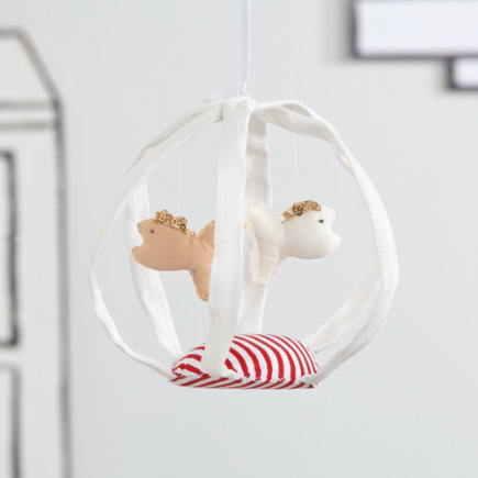 Nursery Hanging Fish Bowl Decor (White) - White Fishbowl Handcrafted Hanging Decor