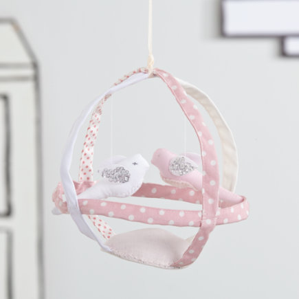 Nursery Hanging Birdcage Decor - Pink Birdcage Handcrafted Hanging Decor