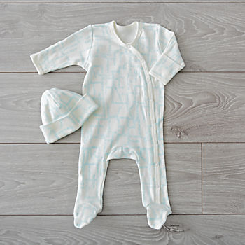 Organic Blue Footie and Hat Set (0-3 Months)