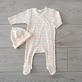 Organic Pink Footie and Hat Set (0-3 Months)