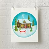Christmas Cabin Personalized Wall Art
