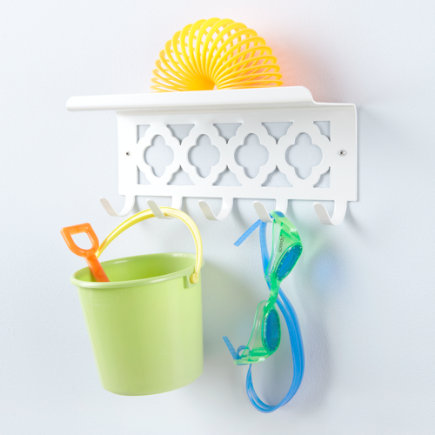 Kids Storage: Kids Shelf and Wall Hook - White Hook/Shelf