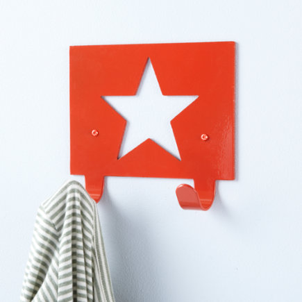 Kids Storage: Kids Star Wall Hook - Red Star Wall Hook