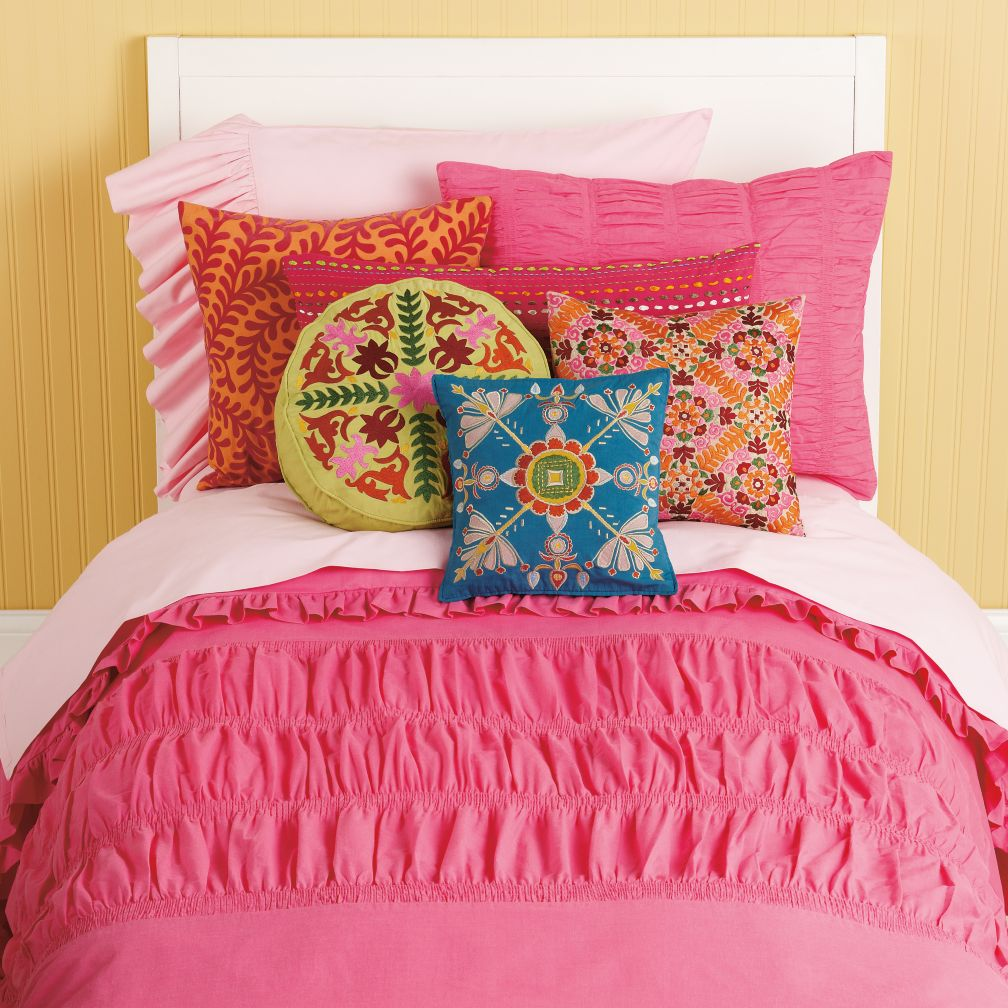 Girls Bedding: Girls Pink Ruched Bedding Set