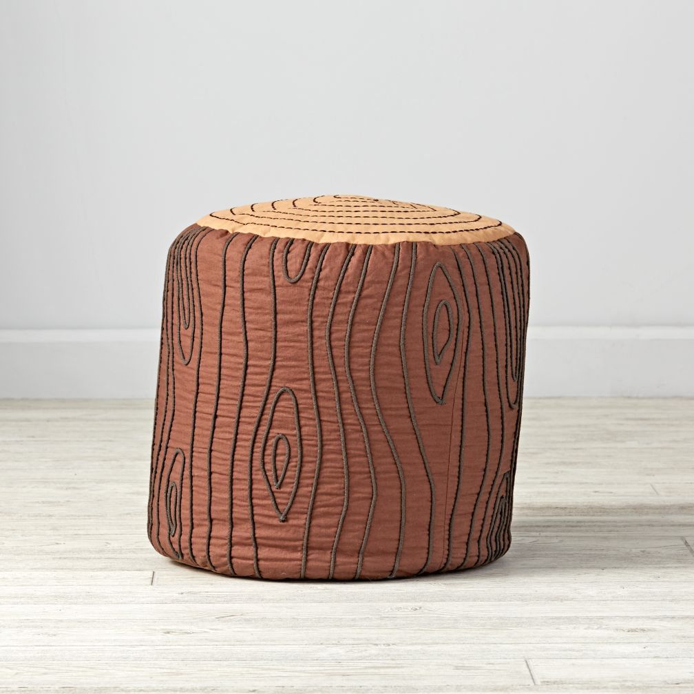 Log Seat - Fabric with embroidered details. Clever and unique seating for a child's room