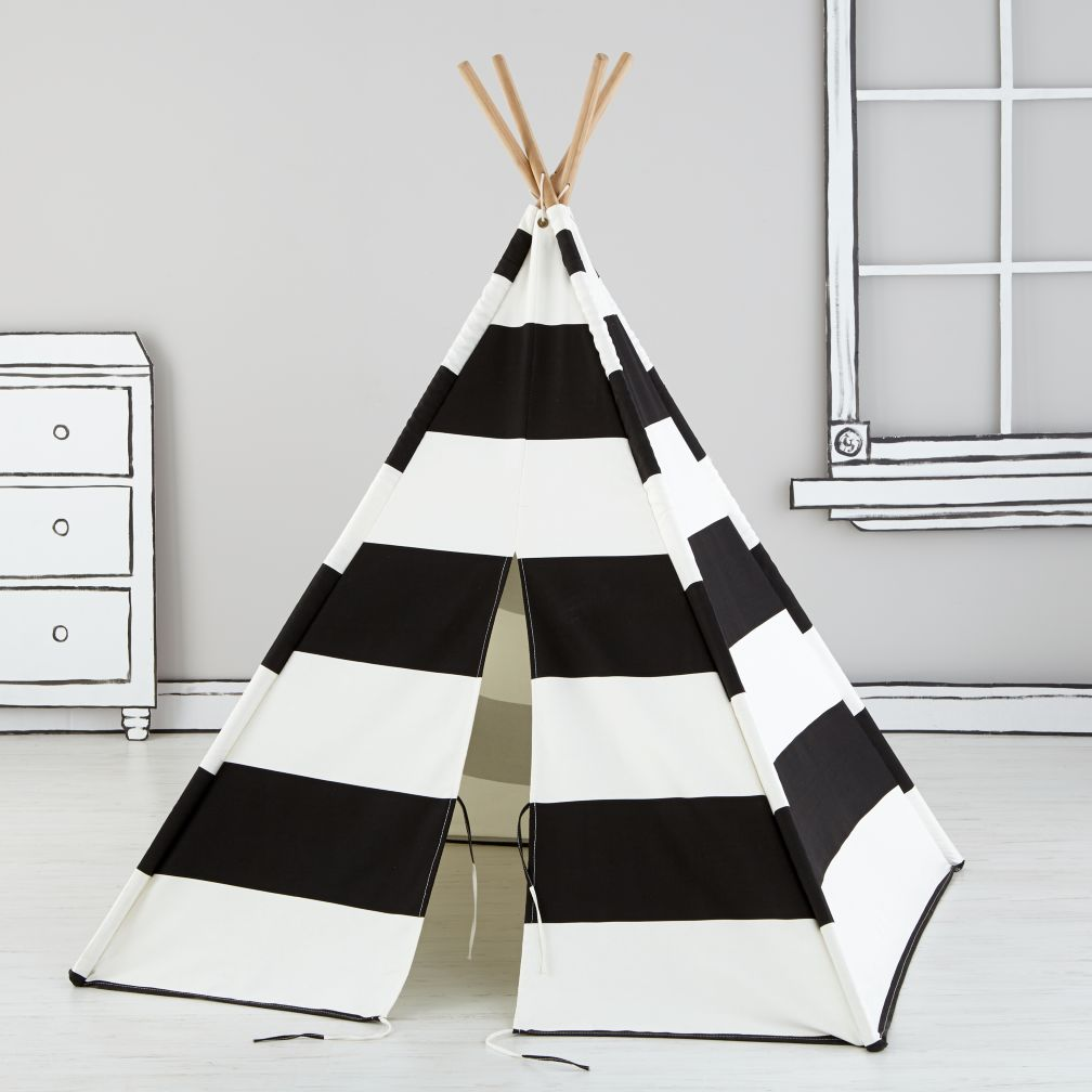 Crate And Barrel Chair Covers Teepee to Call Your Own (Black Stripe) | The Land of Nod