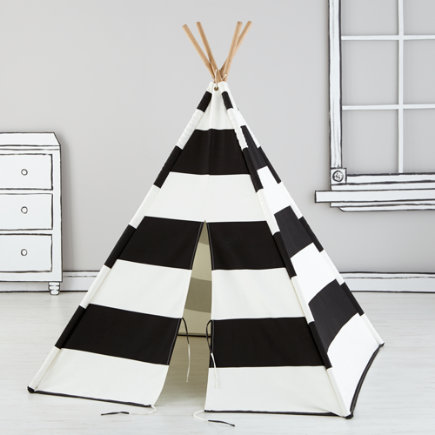 Kids Teepee (Black & White Stripes) - Black Stripe Canvas Teepee