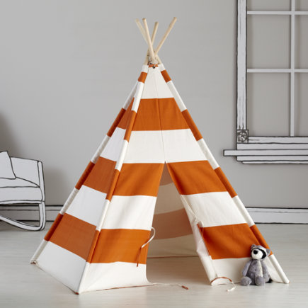 Kids Teepee (Orange & White Stripes) - Orange Stripe Canvas Teepee