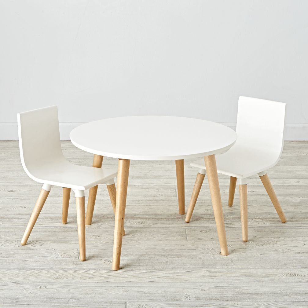 Wooden play table chair sets the land of nod for Table and chair set