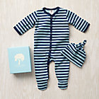 3-6 mos. Blue Stripe Organic Footie/Hat Set