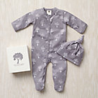0-3 mos. Grey Trees Organic Footie/Hat Set