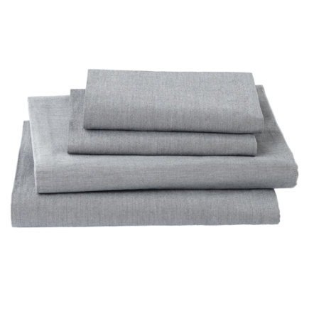Twin Grey Chambray Sheet SetIncludes fitted sheet, flat sheet and one pillowcase
