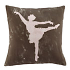 Grey Ballet Dancer Throw Pillow Cover