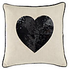 Black Sequin Heart Throw Pillow Cover