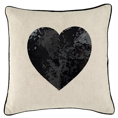 Black Sequin Heart Throw Pillow Cover Only