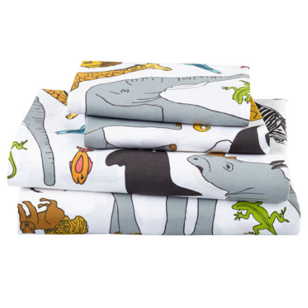 Twin Welcome Jungle Sheet SetIncludes fitted sheet, flat sheet and one pillowcase