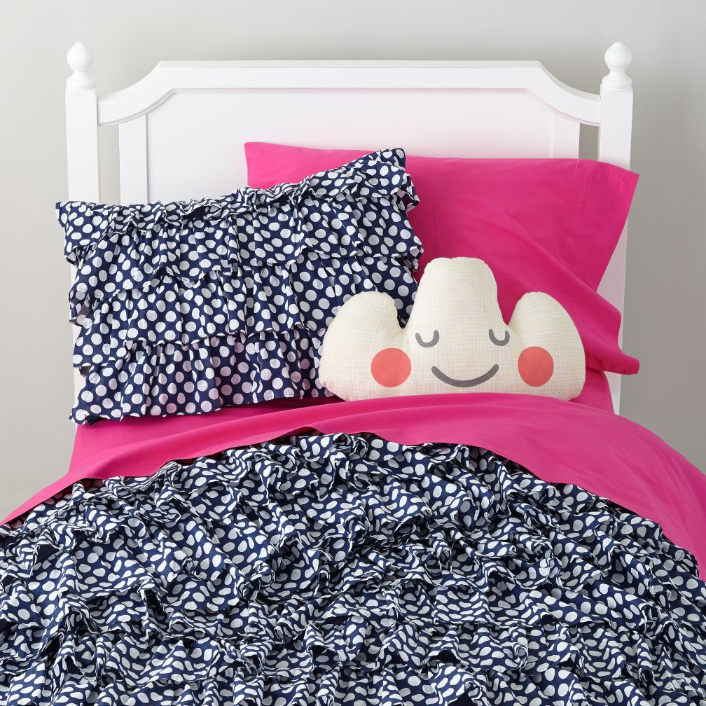 Pink and white polka dot bedding - Blue