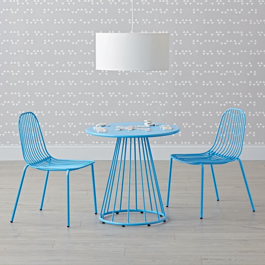 Mini Resonate Blue Play Table And Chairs Set The Land Of Nod