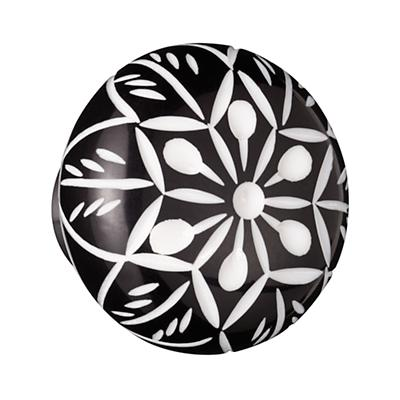 Hand Picked Knobs (Black and White Flower)