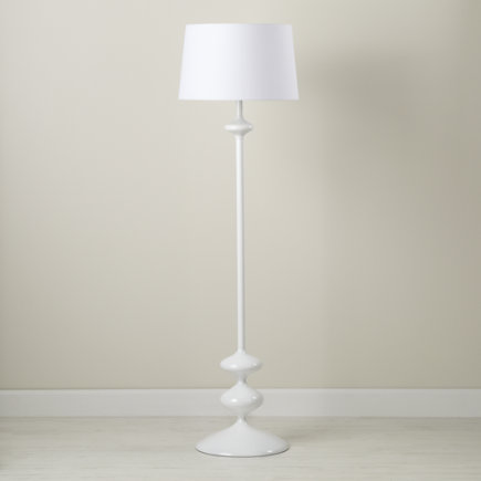 Kids Floor Lamps: White Floor Lamp Base with Fabric Shade - White Checkmate Floor Lamp Base
