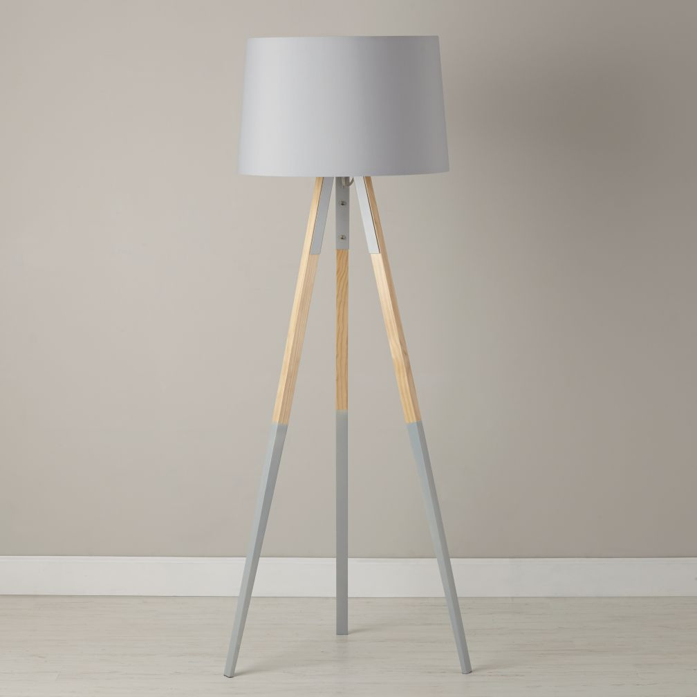 tripod floor lamp with grey dipped legs the land of nod. Black Bedroom Furniture Sets. Home Design Ideas