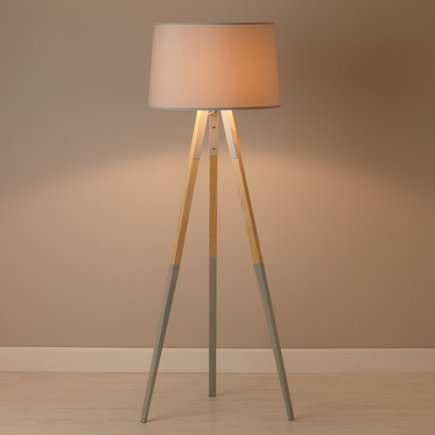 Tripod Floor Lamp With Grey Dipped Legs - Cinema Tripod Floor Lamp