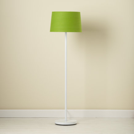 Kids Floor Lamps: Kids White Nickel Floor Lamp Base with Green Fabric Shade - Green Light Years Floor Lamp Shade