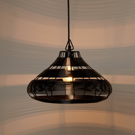 Aviary Rounded Wire Pendant Lamp (Black) - Black Wire Aviary Pendant Lamp