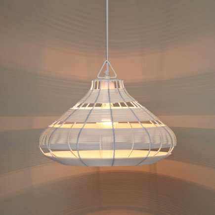 Aviary Rounded Wire Pendant Lamp (White) - White Wire Aviary Pendant Lamp